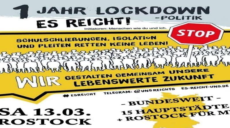 Es reicht ! 13.03.2021 Großdemo mit Auto-Korso in Rostock